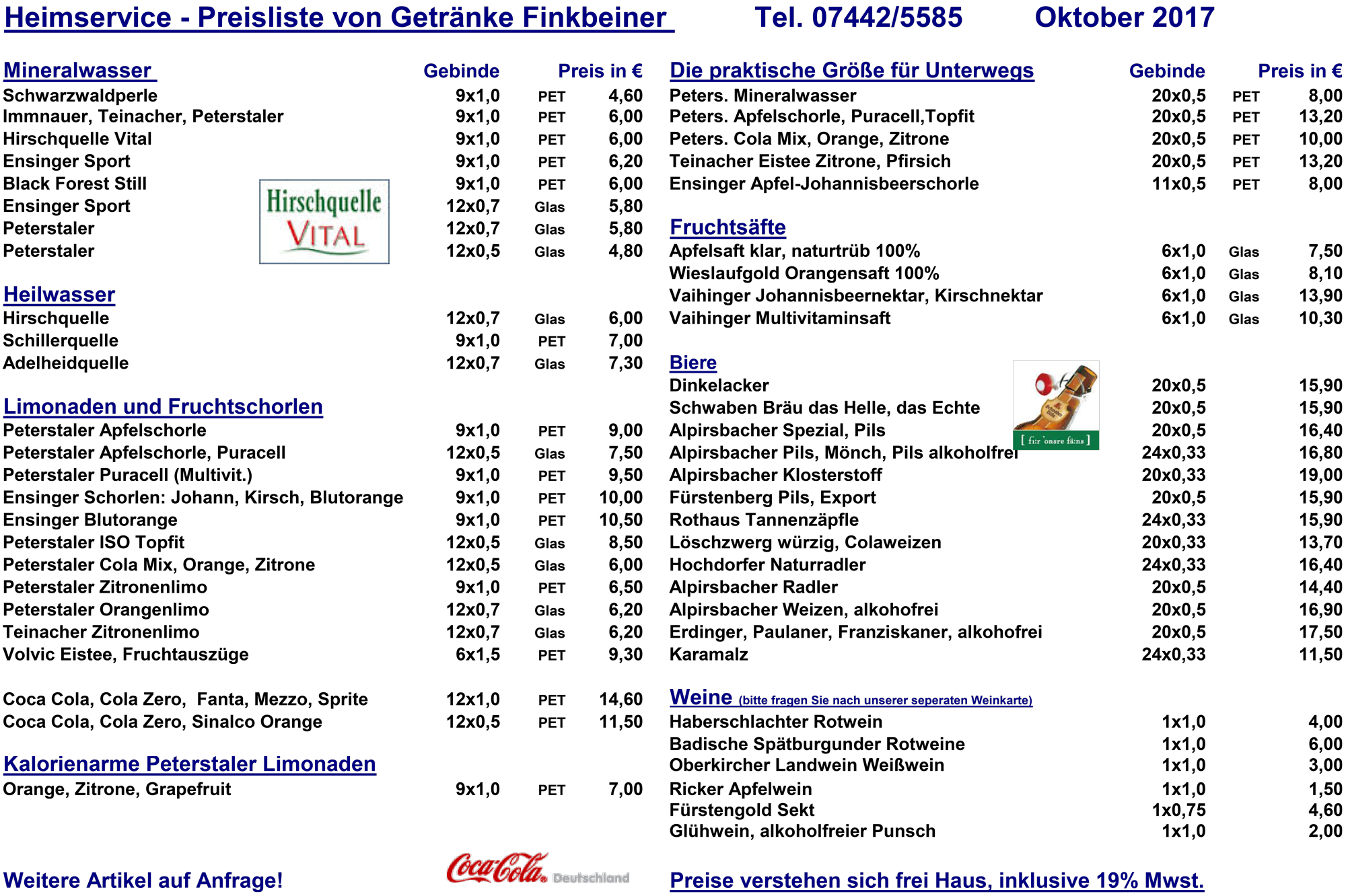 Getränke Finkbeiner, Baiersbronn: Getränkelieferservice im Kreis FDS